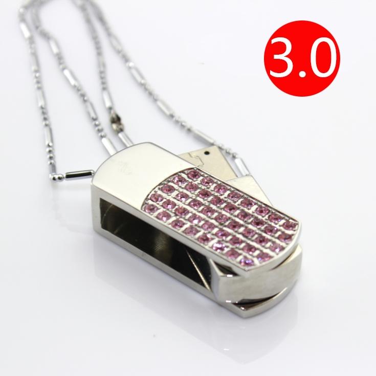20cc6f2bda499e Hot Selling Diamond Sieraden Fashion Gift Roze USB Flash Drive 3.0 64 GB  128 GB Pendrives