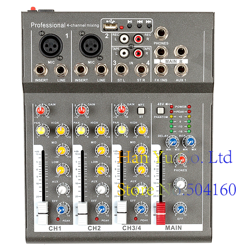 Mini Karaoke Audio Mixer Amplifier Professional Microphone Mixing Sound Console 4 Channel With USB 48V Phantom Power professional 4 channel live mixing studio audio sound console network anchor portable mixing device vocal effect processor