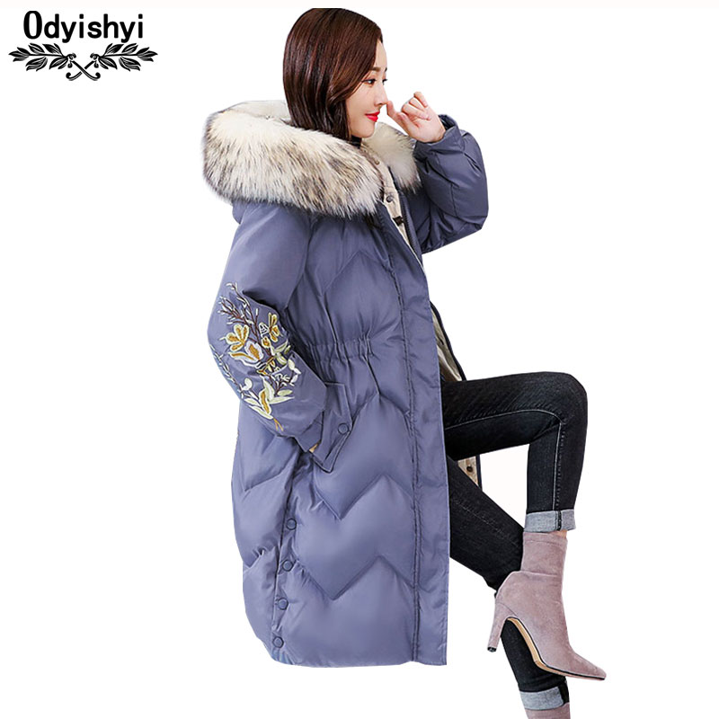 2019 Winter Women Fashion Embroidered Jacket Cotton Coat Temperament Down Cotton Jackets Hooded Parka Padded Long