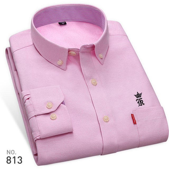 High Quality Sergio K New Arrived Oxford Mens Shirts Brand Embroidery Long Sleeve Solid Color Men Dress Shirts White Male Shirt 2