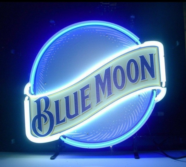 Custom Blue moon Glass Neon Light Sign Beer Bar