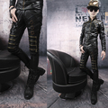 Hot 2015 New Winter leather pants tight-fitting Korean version zippers motorcycle leather pants, Men nightclub stage pants,28-37