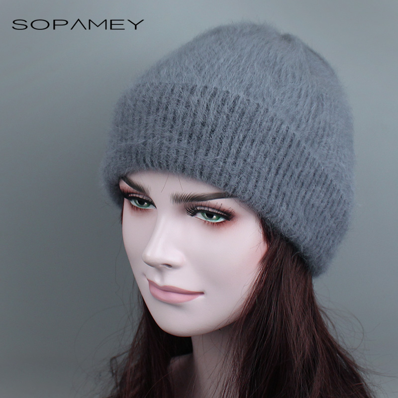 Winter Women Autumn Winter Warm Angora Skullies Rabbit Fur Knitted Beanies Thick Wool Skullies Female Ski Hat gorro for Girls velvet thick keep warm winter hat for women rabbit fur knitted beanies ladies female fashion skullies elegant hats for women
