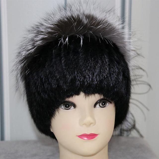 Sombreros de Piel De Visón Real Para Las Mujeres de la Marca de Moda de Invierno Genuino Fox Beani Sombrero de Pompón de piel Caliente Gruesa de Piel de Punto Sombreros Gorros Ruso
