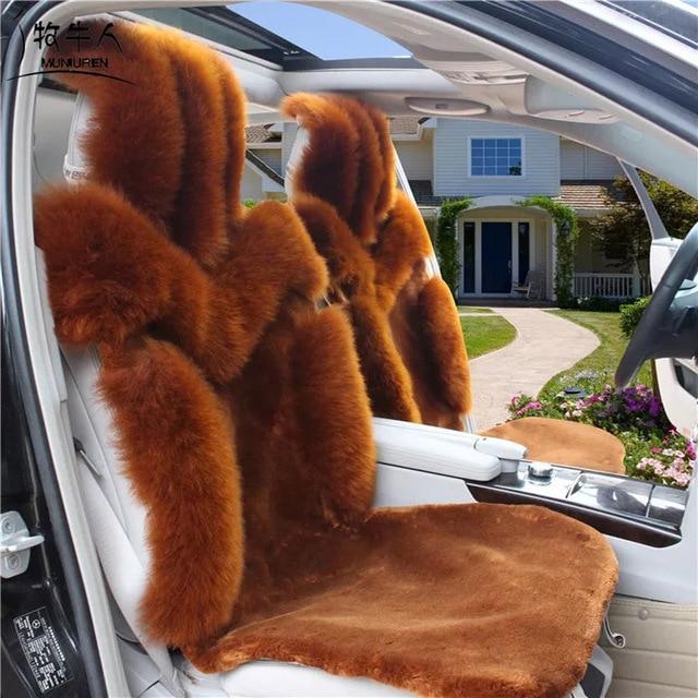 MUNIUREN 100 Australian Pure Natural Wool Car Seat Cover Winter Genuine Sheepskin Fur