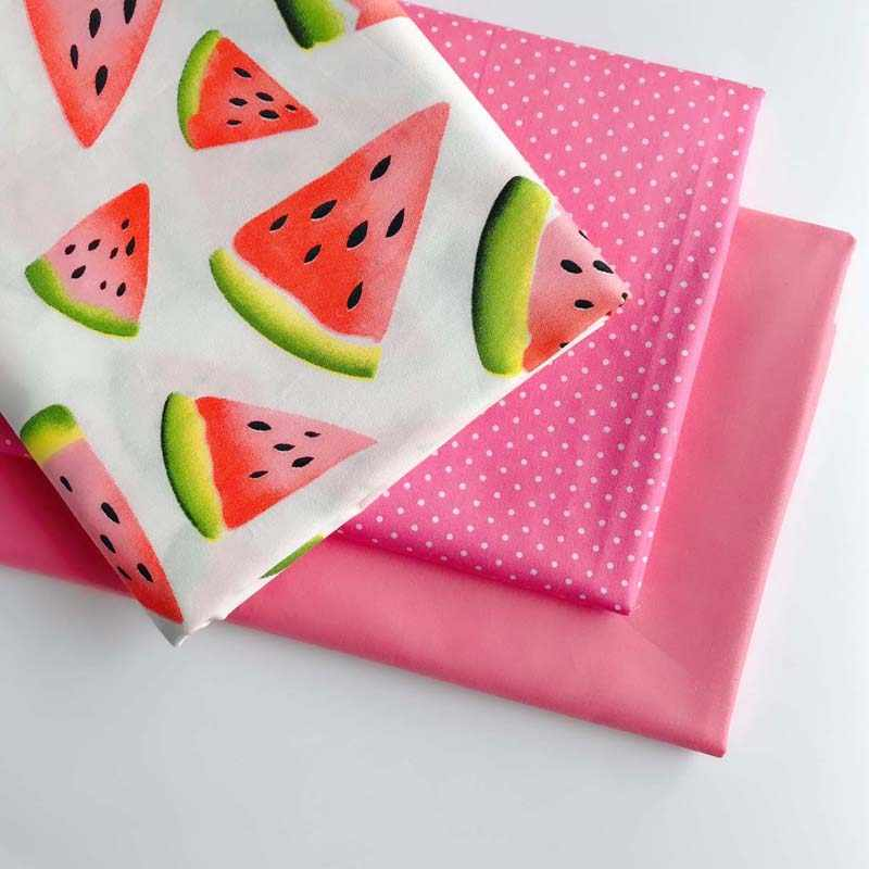 160CM*50CM cotton cloth fruit red watermelon pink dots solid brick pink fabric for DIY crib bedding cushion dress handwork decor