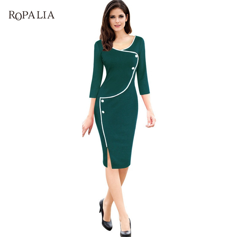 ROPALIA Women Vintage Brief Split Bottom Elegant Casual Work 3/4 Sleeve Deep O-Neck Bodycon Knee Women Office Pencil Dress