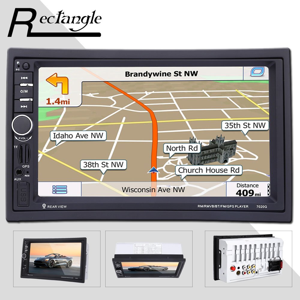7 inch 2 Double Din Car MP5 Video Player Touch Screen 1080P GPS Navigation Bluetooth Radio