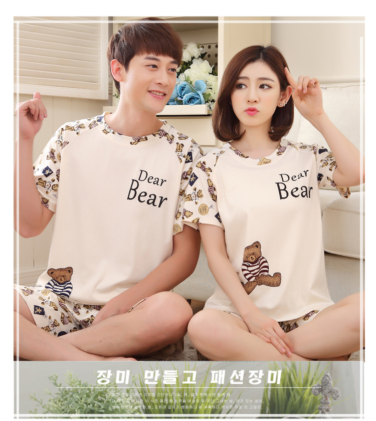 Pyjamas Cotton Couple Pajamas Set Women Sleepwear Pajama Sets Pijamas Lovers Pyjamas Summer Homewear Clothing