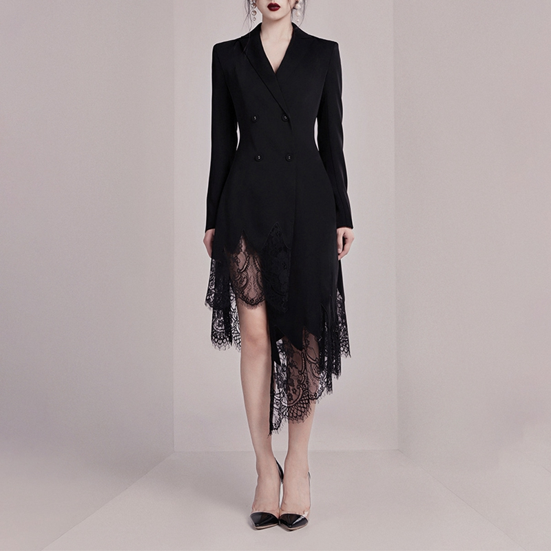 Max Spri 2019 New Arrivals Black Suit Dress V Neck Long Sleeves Button Lace Aymmetrical Hemline Women Fashion Wrap Dress in Dresses from Women 39 s Clothing