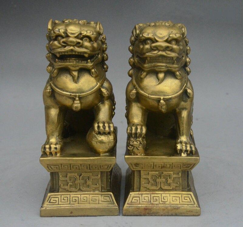 6 chinois Fengshui laiton Foo Fu chien tutelle porte Lion balle enfant Statue paire6 chinois Fengshui laiton Foo Fu chien tutelle porte Lion balle enfant Statue paire