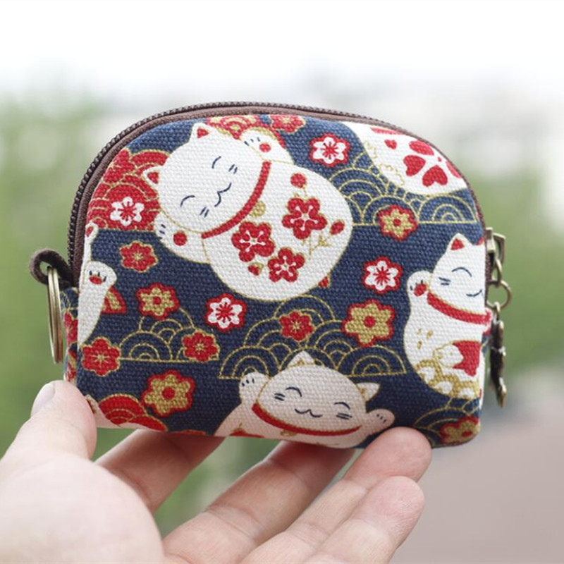 M045 New Hefeng Series Lovely Cat Dog Printed Canvas Zipper Bag Semicircle Zero Wallet Women Student Gift Wholesale