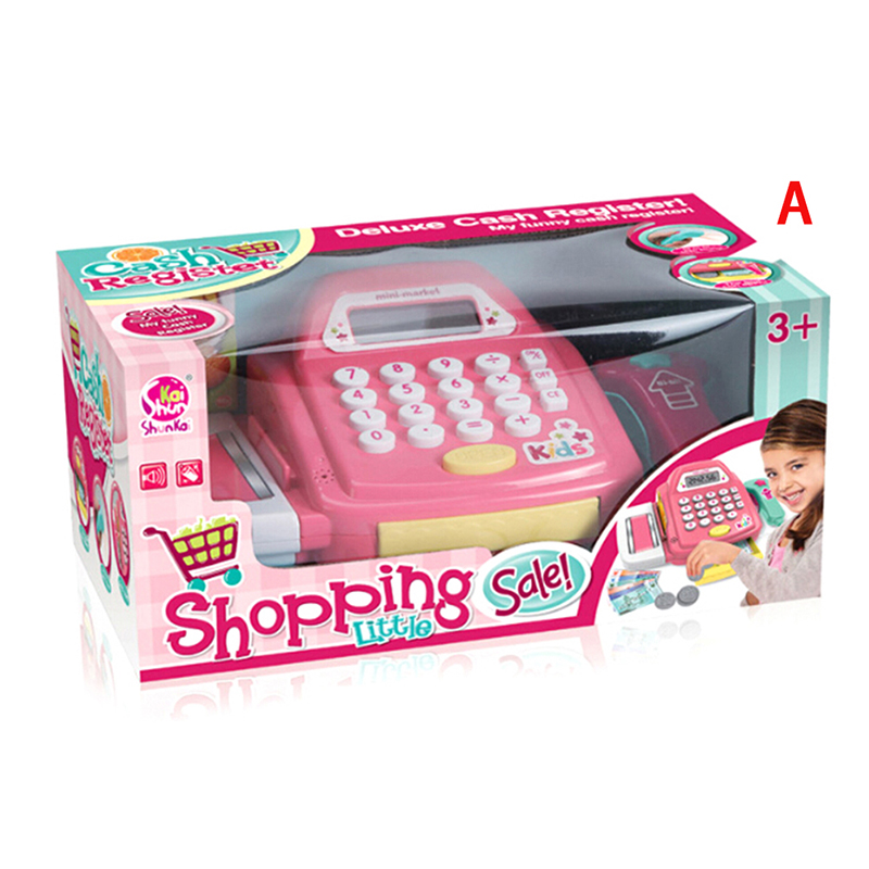 Simulation Supermarket Mini Cash Register Toy Checkout Counter Role Girls Games Cashier Pretend Play House Toys For Kids