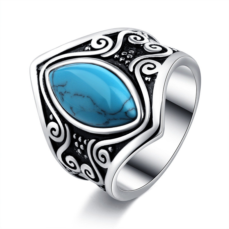 Women Bohemia Rings Fine Jewelry Accessories Blue Stone Black Rings Funny Body Jewellery Boho Metal Ring Big Fashion Men Ring