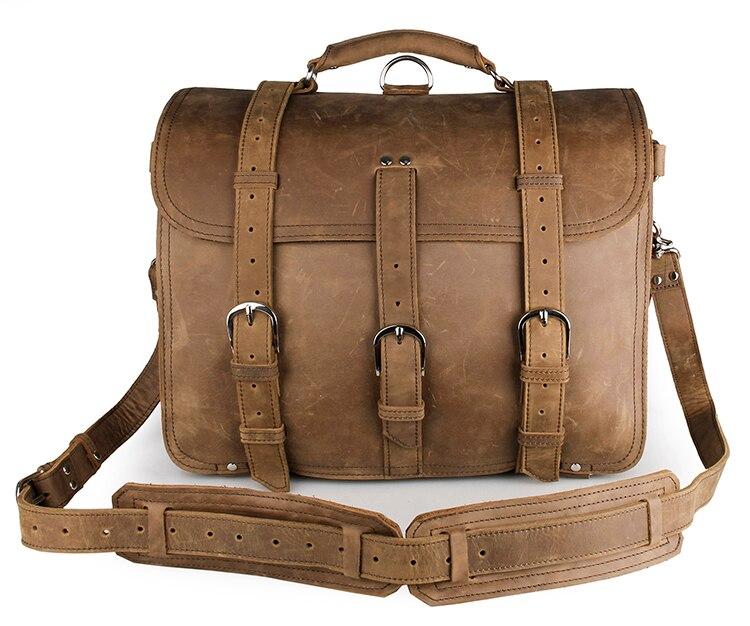 high quality 100 100% High Quality Crazy Horse Leather Men's Backpacks Travel Bag Totes Huge  7072B
