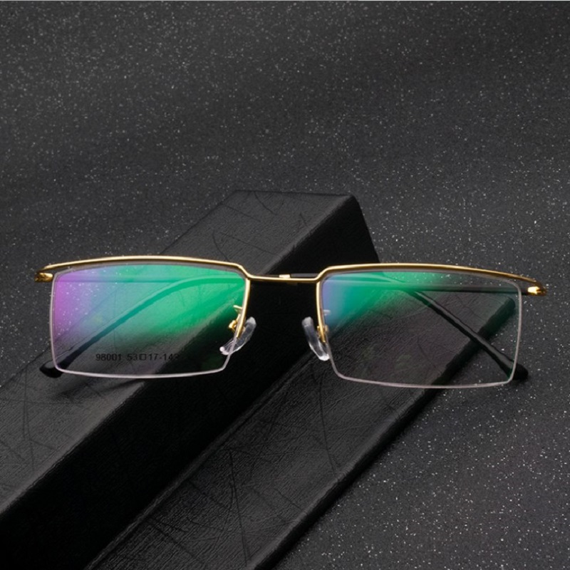width 137 Men Frames eyewear glasses frame Business eyebrow frame elastic half rim alloy optical myopia goggle Glasses frames in Men 39 s Eyewear Frames from Apparel Accessories