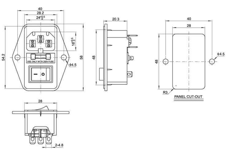 """Przełącznik 3A bezpiecznik kaseta lampa na pilota """"trzy w jednym"""" gniazdo zasilania prądu przemiennego nogi przełącznik typu łodzi 10 sztuk"""