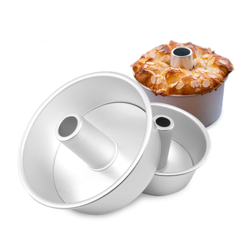 6inch 8inch Aluminum Alloy Round Chiffon Cake Pan Removable Bottom Hollow Chimney Cake Mold DIY Baking Cake Tools