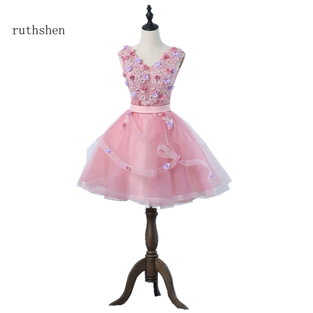ruthshen 2018 New Arrivals   Cocktail     Dresses   Women's Fashion V Neck A Line Sleeveless Appliques Party Prom   Dresses   New Arrivals