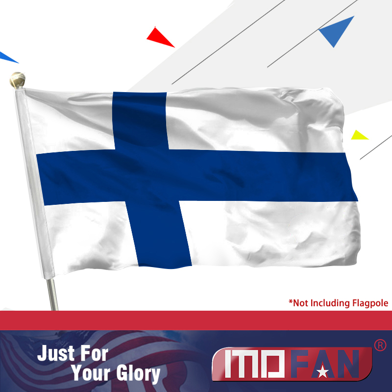 Finsko vlajky Polyester MOFAN - Záhlaví plátna a dvojité prošívání - finské vlajky Finn s 2 mosaznými průchodkami 3 X 5 Ft