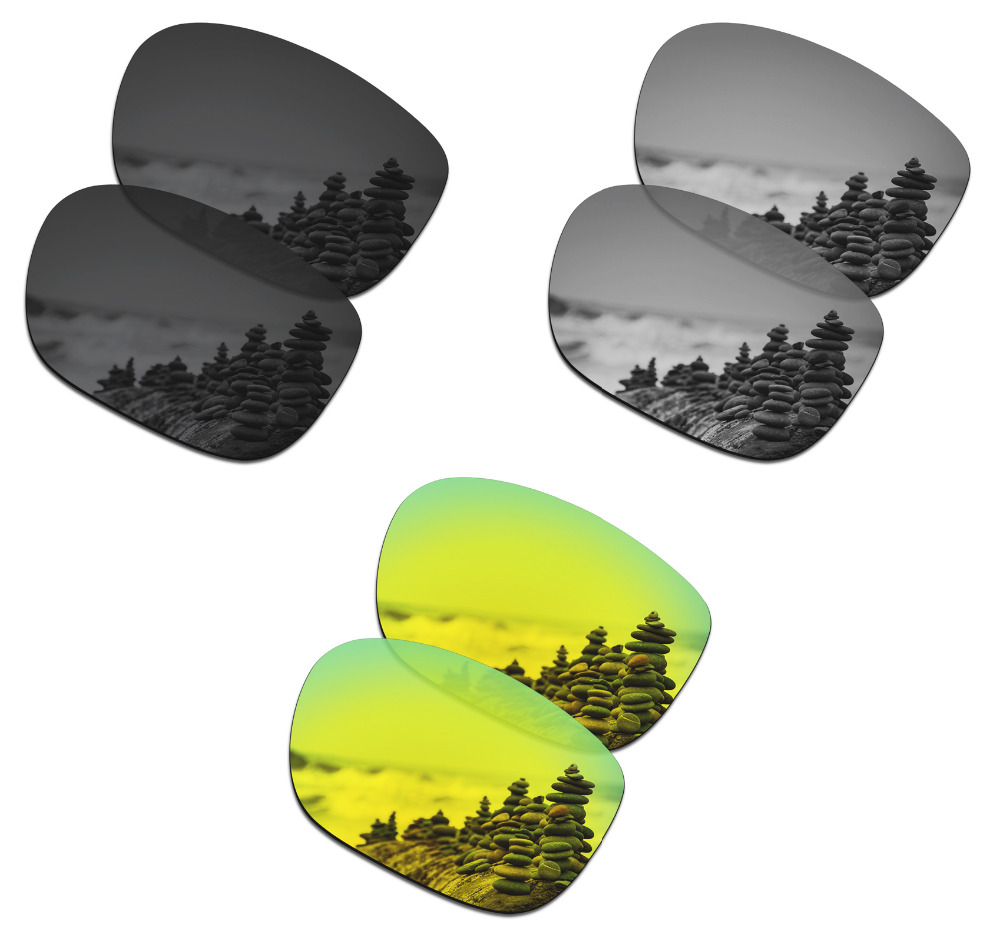 SmartVLT 3 Pairs Polarized Sunglasses Replacement Lenses for Oakley LBD Stealth Black and Silver Titanium and 24K Gold