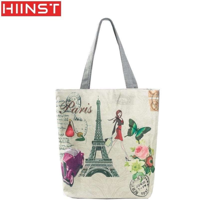 Women's Handbag Best Gift Paris Tower Canvas Tote Drop Ship Beach Bags Shopping Bag Handbags A20#3
