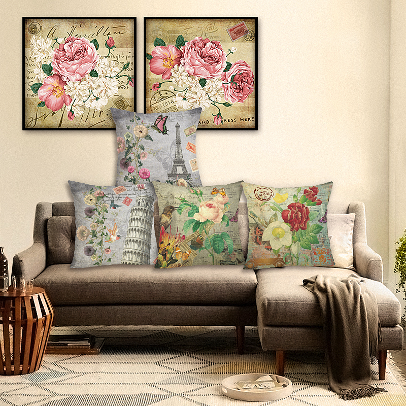 High Quality Car Printed Cotton Linen Blackout Curtain: New High Quality The Beautiful Flower Print Cotton Linen