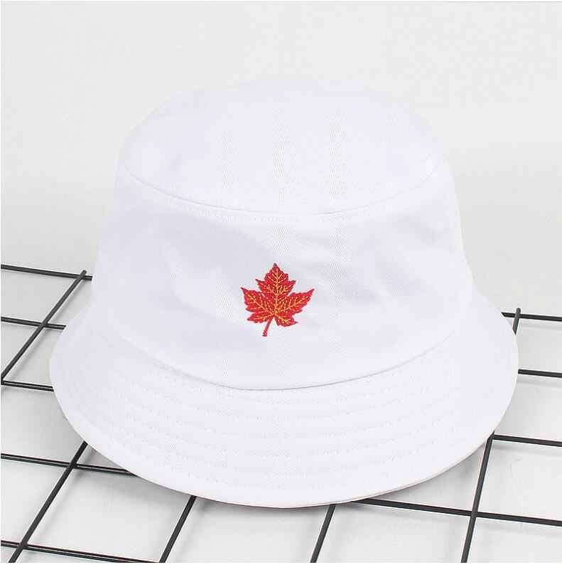 04eade2b469 2018 Maple leaves Bucket Hat Unisex Bob Caps Hip Hop Gorros Men women  Summer Panama Cap