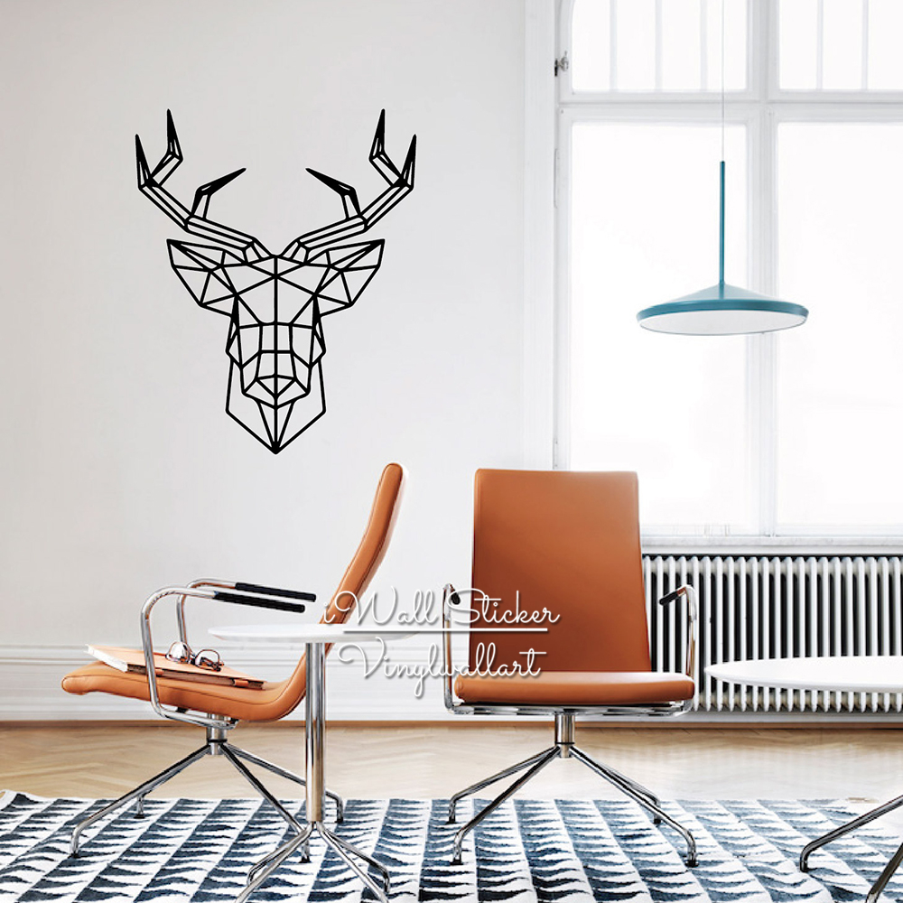 Geometric Deer Wall Sticker Modern Geometric Deer Wall Decals DIY Easy Wall Art Removable Wall Decoration Cut Vinyl M13