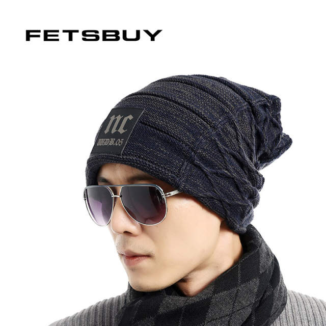 FETSBUY Brand Beanies Knit Men S Winter Hat Caps Thick Skullies Bonnet Hats  For Men Women Beanie. placeholder ... 97cebe54da91