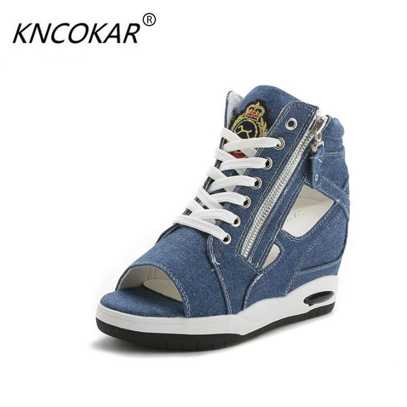 KNCOKAR Denim casual shoes woman 2018 spring summer fish toe wedge canvas shoes female leisure sandals zapatillas side zipper denim zipper hollow worn stiletto womens sandals