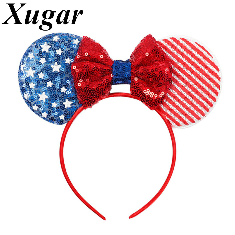 Xugar Hair Accessories 4th of July Headband for Girls Sequin Flag Mouse Ears Hairbands Independence Day Kids   Headwear