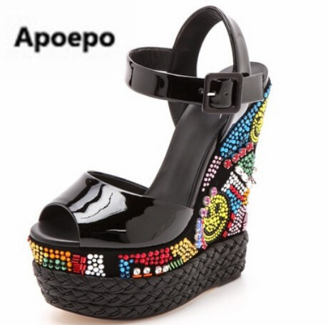 Newest Newest women Sandal High Quality Buckle Platform Ankle Fashion Cheap Price Peep Toe Wedge Shoes Luxury Crystal Cute