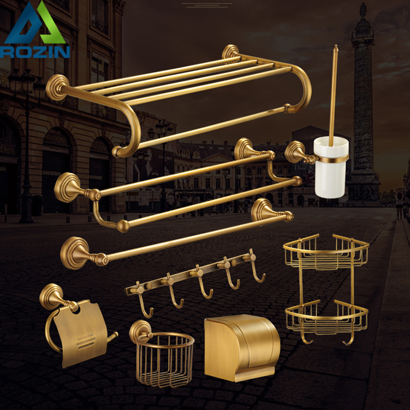 Brass Antique Wall Mount Bathroom Accessories Bath Hardware Set Shelf Towel Robe Hook Soap Tumbler Paper Holder Towel Bar luxury european brass bathroom accessories bath shower towel racks shelf towel bar soap dishes paper holder cloth hooks hardware page 1