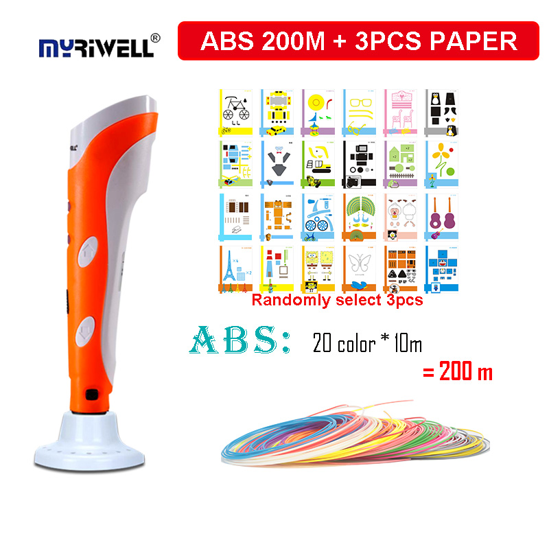 Myriwell Original 3D printing pen , 200m ABS filament +base+3pcs paper model ,3d drawing pens,Best Christmas/birthday gift