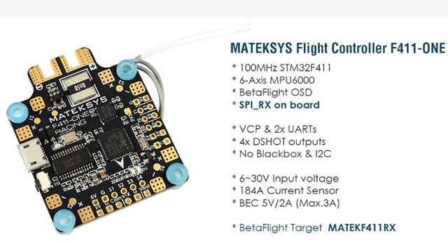 MATEKSYS F411-ONE flight controller STM32F411, MPU6000, BFOSD, SPI Receiver(Frsky_X), VCP+2 x UARTs, 4 x DShot outputs, PDB