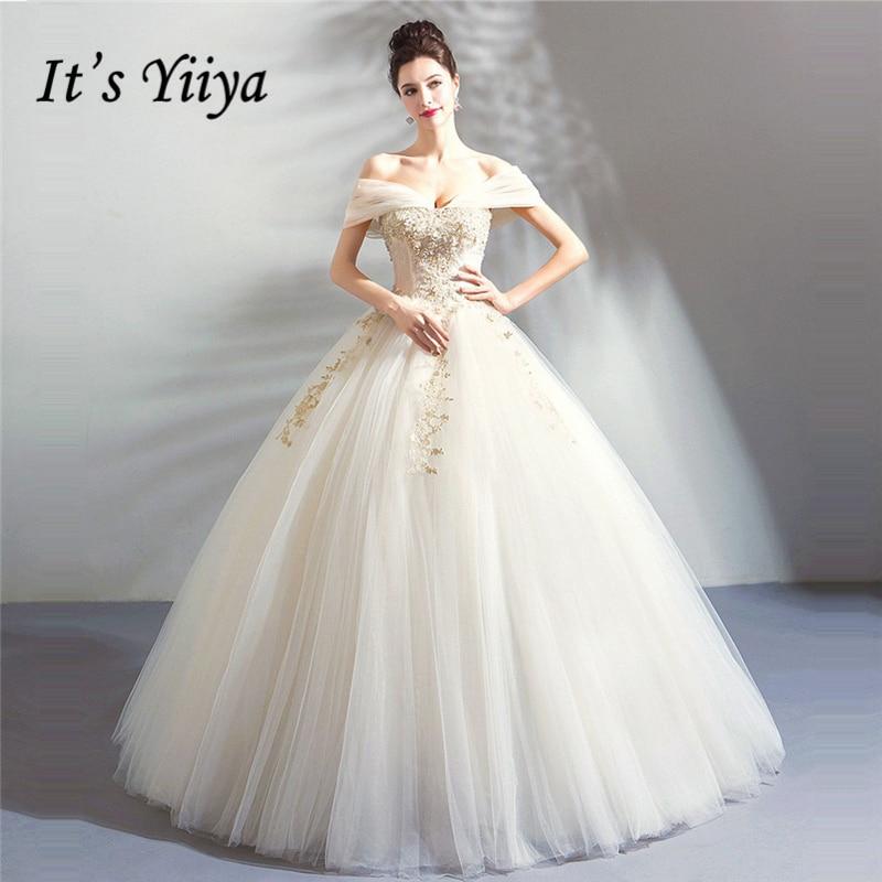 Simple Wedding Dresses Boat Neck: It's Yiiya Wedding Dress 2018 Boat Neck White Ball Gowns