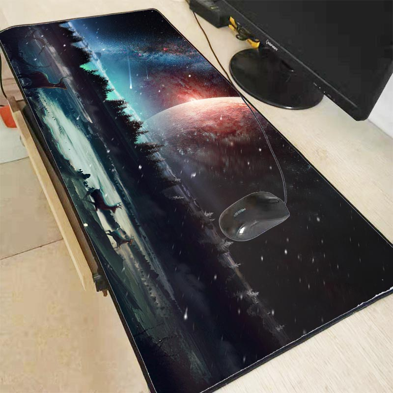 Mairuige 90X40CM Colorful Sky Moon Deer Unique Desktop Pad Game Mousepad Gaming Large Mouse Pad Computer Mats Notebook Mice Mats