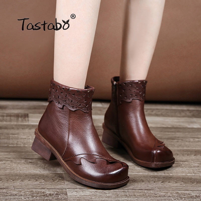 Tastabo Genuine Leather Boots Women Soft 2018 Autumn Fashion Black Shoes Woman Square High Heels Boots