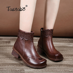 Tastabo Genuine Leather Boots Women Soft 2018 Autumn Fashion Black Shoes Woman Square High Heels Boots for Women