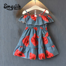 0b6fdb33d4db 2018 Baby Girls Dress Brand Summer Beach Style Floral Print Party Backless  Dresses For Girls Vintage Toddler Girl Clothing
