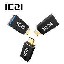 ICZI, 3 штуки, Тип C, папа-USB 3,0, Женский OTG конвертер, алюминиевый корпус, позолоченный черный адаптер для флешки на мобильный телефон