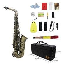 Alto grau de acabamento antigo dobrar profissional eb e flat saxofone alto sax escudo chave carve padrão com caso luvas cintas escova