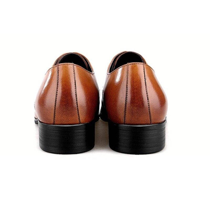 Grande Noir Eur45 Des Hommes brun Black Cuir brown De Véritable Robe Taille Chaussures Sexe Masculin Sociaux En D'affaires Mariage rq4WE5rw