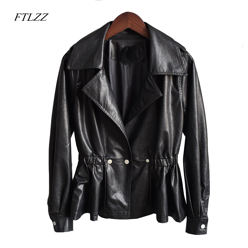 Ftlzz Spring Autumn Women Pu   Leather   Jacket Coat Turn-down Collar Balck Punk Motorcycle Lady Casual Outerwear