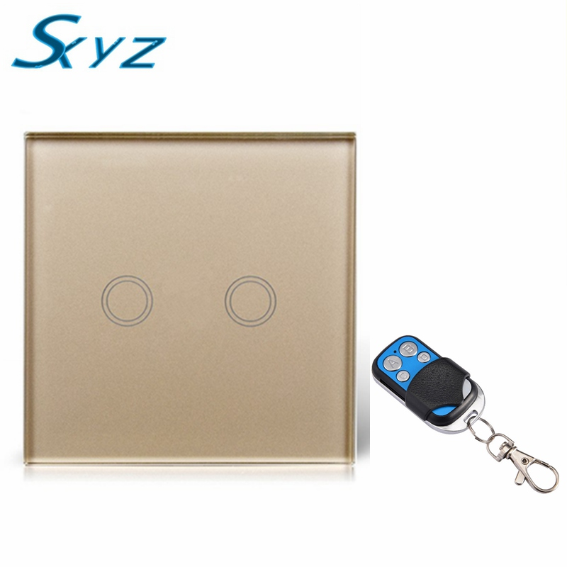 EU/UK Standard  Remote Control Switch 2 Gang 1 Way,Crystal Glass Switch Panel,Remote Wall Touch Switch+LED Indicator eu uk standard sesoo remote control switch 3 gang 1 way crystal glass switch panel wall light touch switch led blue indicator