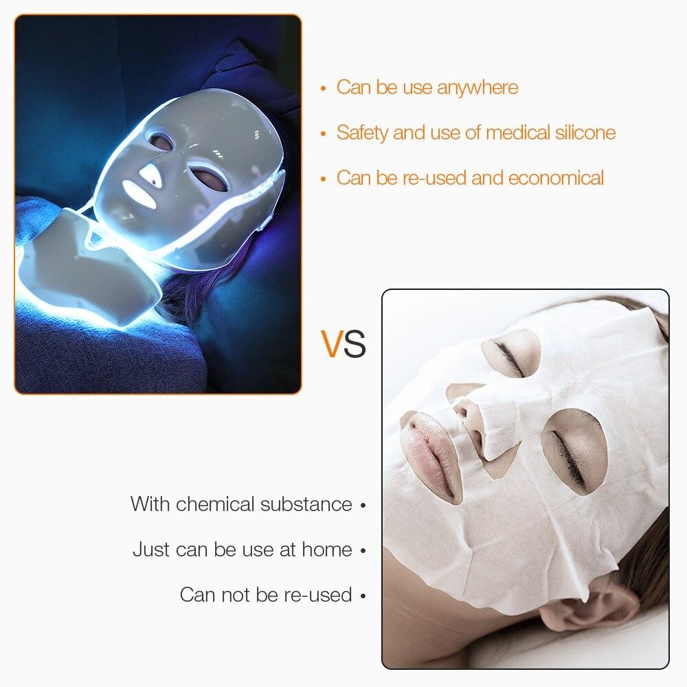Más de 3/7 colores de fotones eléctrica LED máscara Facial con cuello de rejuvenecimiento de la piel Anti acné arrugas, tratamiento de belleza salón de uso en el hogar - 6