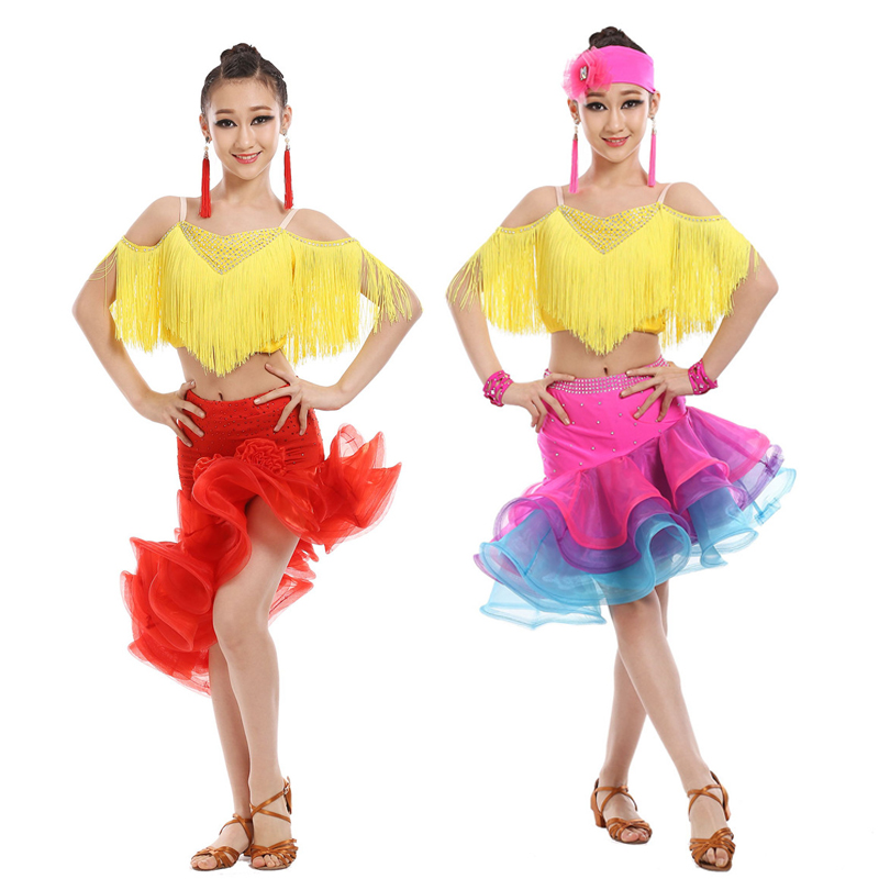 98bac241b54fc Kids Tassels Latin Salsa Ballroom Stage wear Dance Competition Dresses  Costumes for Girls Dancer Wear Dancing Clothes