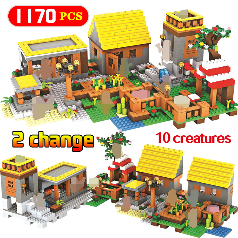 My World Dream Gold house Village blocs de construction compatibles Minecraft legoily City Educantion jouet pour enfants 2 méthodes d'assemblage