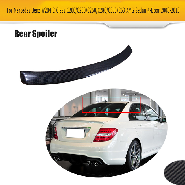 C Class Carbon Fiber Rear Roof Spoiler Window Wing for Mercedes Benz W204 Sedan 4 Door 2008 - 2013 W Style Car Styling